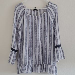 Fred David peasant style striped floral blouse